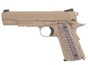 COLT 1911 M45 RAIL GUN CO2 1.1 JOULE FULL METAL TAN ET CROSSE COLORÉE BLOWBACK