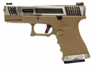 REPLIQUE PISTOLET G FORCE S19 SEMI AUTO GBB T8 TAN ET ARGENT CANON ARGENT WE