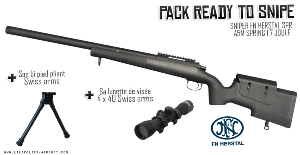 SNIPER FN HERSTAL SPR A5M SPRING 1.7 JOULE + LUNETTE DE VISEE 4 X 40 + BIPIED PLIANT SWISS ARMS