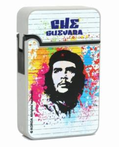 BRIQUET BLANC TURBO CHE GUEVARA FINITION EN GOMME FLAMME BLEUE ELECTRONIQUE RECHARGEABLE