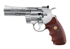 REVOLVER COLT PYTHON 357 MAGNUM CO2 CHROME ET MARRON FULL METAL 4 POUCES 1.9 JOULES 4.5 MM AIRGUN