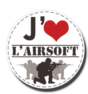 BADGE J'AIME L'AIRSOFT GUERRIERS BLANC