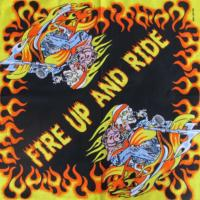BANDANA SQUELETTE MOTARD FIRE UP AND RIDE 53 X 53 CM