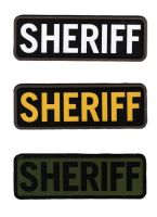 ECUSSON / PATCH RECTANGULAIRE SHERIFF KAKI ET NOIR A SCRATCH MSM