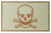 "ECUSSON / PATCH 3D PVC SCRATCH "" SKULL AND BONES "" CRANE ET OS MARRON SUR FOND TAN"