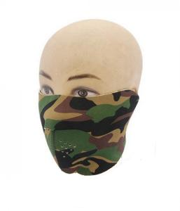 MASQUE DE PROTECTION DEMI VISAGE NEOPRENE REVERSIBLE CAMO WOODLAND / NOIR