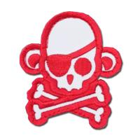 ÉCUSSON OU PATCH TÊTE DE MORT PIRATE SINGE MONKEY ROUGE ET BLANC MSM