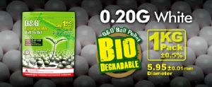 BILLES BIODEGRADABLES BLANCHES G&G ARMAMENT 5000 X 0.20G HAUTE PRECISION EN SACHET