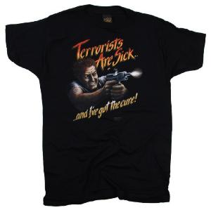 "TEE SHIRT NOIR MANCHES COURTES IMPRIME "" TERRORISTS ARE SICK ... "" "" ... AND I'VE GOT THE CURE """