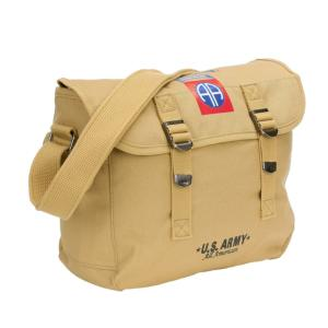 SAC BANDOULIERE EN TOILE TAN SABLE 82ND AIRBORNE US ARMY 10 LITRES SANGLE REGLABLE FOSTEX