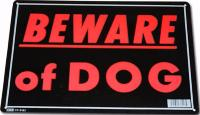 PLAQUE DECORATIVE EN METAL 35.8 X 25.5 CM BEWARE OF DOG