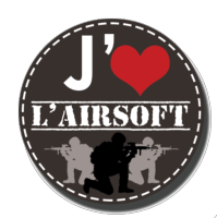 BADGE J'AIME L'AIRSOFT GUERRIERS GRIS FONCE