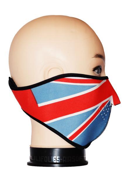 Demi masque de protection neoprene drapeau anglais rouge bleu et blanc airsof - Drapeau anglais et rouge ...