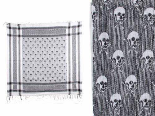 keffieh foulard palestinien 100 coton unisexe blanc et noir avec cranes tetes de mort skull 100 a. Black Bedroom Furniture Sets. Home Design Ideas