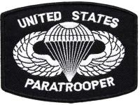 PATCH / ECUSSON TISSU THERMOCOLLANT UNITED STATES PARATROOPER BLANC SUR FOND NOIR