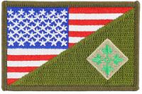 PATCH / ECUSSON TISSU THERMOCOLLANT BRODE DEMI DRAPEAU ETATS UNIS ET INSIGNE 4TH INFANTRY