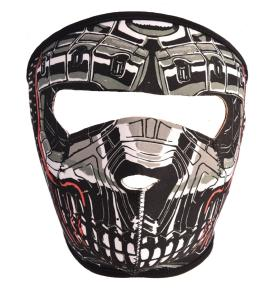 MASQUE DE PROTECTION NEOPRENE TETE DE MORT ROBOT METAL GRISE ET ROUGE