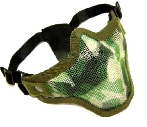 MASQUE DE PROTECTION DEMI GRILLAGE ACIER G2 CAMOUFLAGE WOODLAND