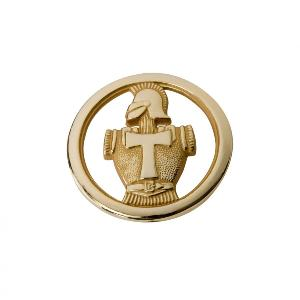 INSIGNE DE BERET TRANSMISSION EN METAL DORE AVEC ATTACHE EPINGLE