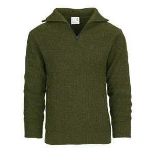 PULL MARIN EN ACRYLIQUE COL MONTANT VERT OLIVE - FOSTEX