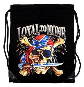 "SAC A DOS TYPE "" MARIN "" NOIR AVEC CORDON ET IMPRESSION LOYAL TO NONE"