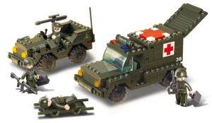 JEU DE CONSTRUCTION BRIQUE EMBOITABLE SLUBAN ARMY JEEP ET AMBULANCE MILITAIRE SOLDATS ARTICULES