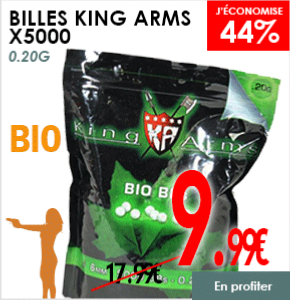 BILLES KING ARMS 5000 X 0.20 G BLANCHES BIO DÉGRADABLE