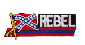 ECUSSON / PATCH REBEL AVEC LE DRAPEAU USA ETATS CONFEDERES D'AMERIQUE THERMO COLLANT AIRSOFT