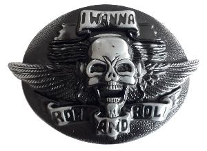 BOUCLE DE CEINTURE METAL OVALE CRANE TETE DE MORT I WANNA ROCK AND ROLL