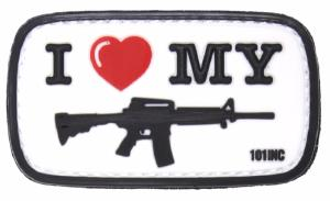 ECUSSON / PATCH 3D PVC SCRATCH I LOVE MY M4 101 INC BLANC ET NOIR