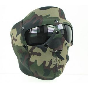 MASQUE DE PROTECTION INTEGRAL SWAT EN NEOPRENE CAMOUFLAGE WOODLAND AVEC LUNETTES INTEGREES FUMEES
