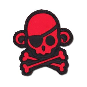 ÉCUSSON OU PATCH TÊTE DE MORT PIRATE SINGE MONKEY ROUGE ET NOIR MSM