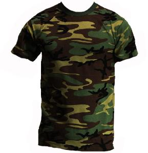 TEE SHIRT ENFANT CAMOUFLAGE WOODLAND COL ROND ET MANCHES COURTES