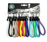 LOT DE 12 PORTES CLES TRESSE CUIR MULTI COULEURS