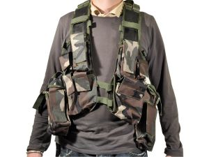 GILET VESTE TACTIQUE CARGO CAMO WOODLAND MULTI POCHES