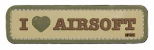 ECUSSON / PATCH 3D PVC SCRATCH I LOVE AIRSOFT 101 INC TAN ET VERT