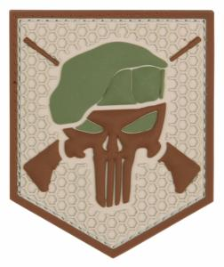 PATCH / ECUSSON 3D PVC SCRATCH THE PUNISHER COMMANDO TAN