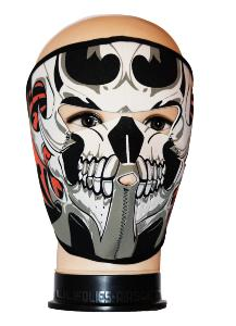 MASQUE DE PROTECTION NEOPRENE TETE DE MORT GRISE TRIBALS ROUGES