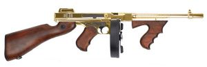THOMPSON M1928 M 1928 CHICAGO AEG VERSION PLAQUE OR ET BOIS VERITABLE 1.5 JOULE CHARGEUR CAMEMBERT