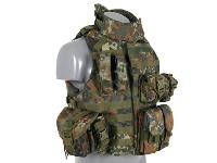 "GILET VESTE TACTIQUE TYPE "" OTV "" (OUTER TACTICAL VEST) MODULABLE AVEC COL CAMO FLECKTARN"