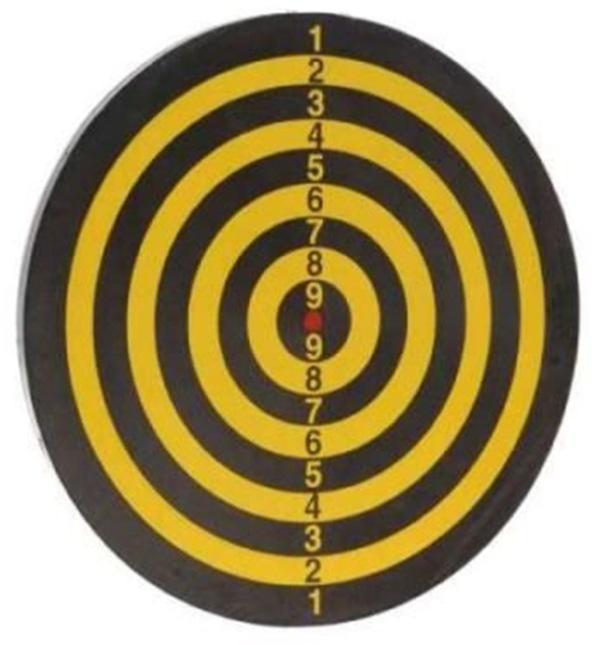 cible reversible noir et jaune petit format voyage 15 cm   2 flechettes anneau metal 22868 airsoft