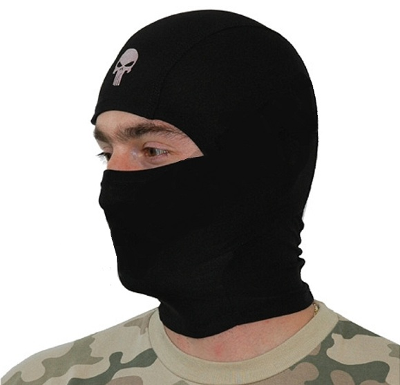 cagoule masque 1 trou noir fin 100 polyester modulable m51617178bk airsoft couvre tete bonnet. Black Bedroom Furniture Sets. Home Design Ideas