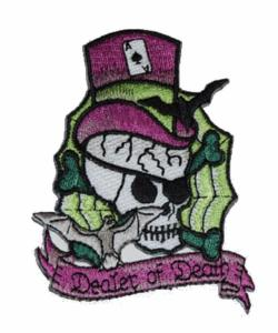 ECUSSON / PATCH DEALER OF DEATH TETE DE MORT AVEC CHAPEAU HAUT DE FORME