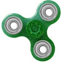HAND SPINNER / TOUPIE A MAIN EN PLASTIQUE ET METAL TRANSPARENT UNI PAILLETTE COULEUR VERT