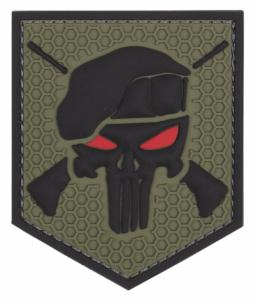 PATCH / ECUSSON 3D PVC SCRATCH THE PUNISHER COMMANDO VERT