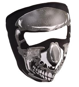 MASQUE DE PROTECTION NEOPRENE TETE DE MORT METAL GRISE