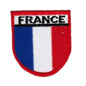 ECUSSON OU PATCH DRAPEAU FRANCE AVEC CONTOUR ROUGE BRODE THERMO COLLANT