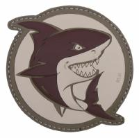 PATCH / ECUSSON 3D PVC VELCRO REQUIN QUI ATTAQUE MARRON
