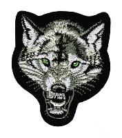 ECUSSON OU PATCH LOUP BLANC VERT ET NOIR BRODE THERMO COLLANT