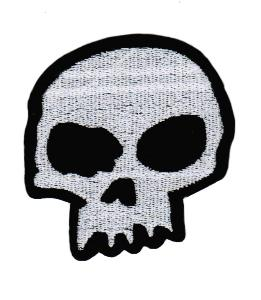 ECUSSON / PATCH TETE DE MORT GRIS ET NOIR BRODE THERMO COLLANT